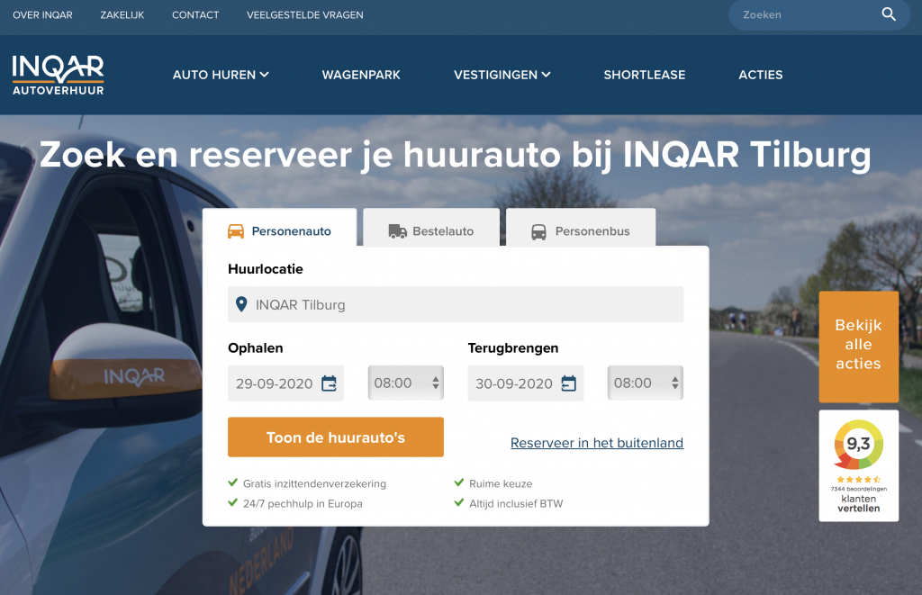 INQAR autoverhuur reviews
